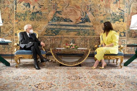 Editorial image of Italian Republic President Sergio Mattarella meets Italian singer Laura Pausini, Quirinale Palace, Rome, Italy - 29 Apr 2021