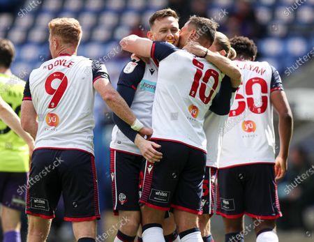 Gethin Jones of Bolton Wanderers celebrates scoring the 1st goal