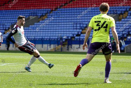 Gethin Jones of Bolton Wanderers scoring the 1st goal