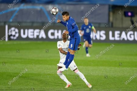 (L-R) Vinicius Junior (Real), Thiago Silva (Chelsea) - Football / Soccer : UEFA Champions League Semi-finals 1st leg match between Real Madrid CF 1-1 Chelsea FC at the Estadio Alfredo Di Stefano in Madrid, Spain.