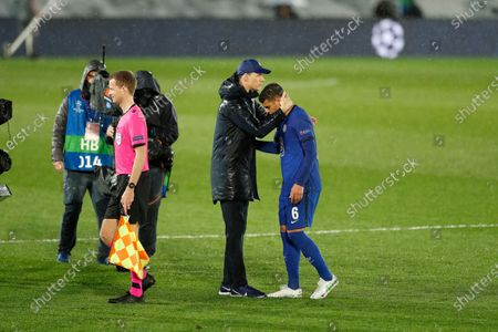(L-R) Thomas Tuchel, Thiago Silva (Chelsea) - Football / Soccer : UEFA Champions League Semi-finals 1st leg match between Real Madrid CF 1-1 Chelsea FC at the Estadio Alfredo Di Stefano in Madrid, Spain.