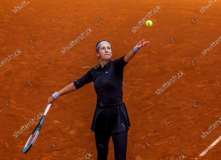 Stock Image of Victoria Azarenka of Belarus in action against Ekaterina Aleksandrova of Russia during their Mutua Madrid Open tournament's first round match at Caja Magica complex, in Madrid, Spain, 30 April 2021.