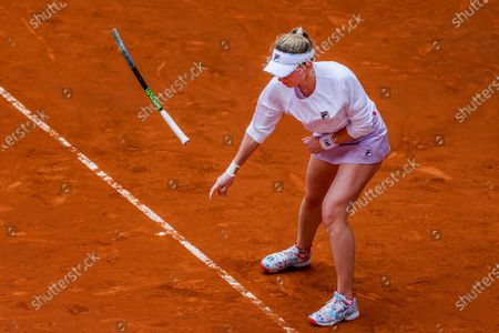 Ekaterina Aleksandrova of Russia reacts as she plays Victoria Azarenka of Belarus during their Mutua Madrid Open tournament's first round match at Caja Magica complex, in Madrid, Spain, 30 April 2021.