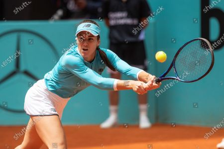 Sorana Cirstea of Romania in action against US tennis player Jessica Pegula during their Mutua Madrid Open tournament's first round match at Caja Magica complex, in Madrid, Spain, 30 April 2021.