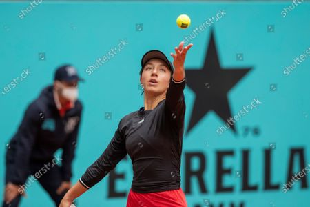 US tennis player Jessica Pegula in action against Sorana Cirstea of Romania during their Mutua Madrid Open tournament's first round match at Caja Magica complex, in Madrid, Spain, 30 April 2021.