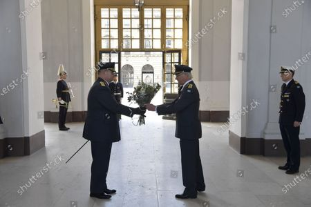 King Carl Gustaf receives flowers on his 75th birthday at The Royal Palace in Stockholm, Sweden