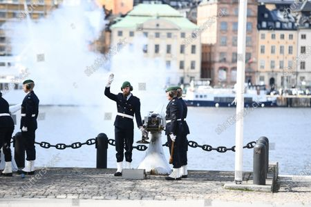 The Swedish Armed Forces' salute to King Carl XVI Gustaf of Sweden on his 75th birthday on Skeppsholmen in Stockholm, Sweden