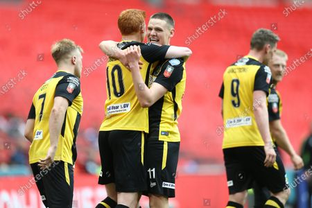 Stock Photo of Olivier Martin  of Hebburn Town celebrates scoring his sides third goal with team-mate Michael Richardson