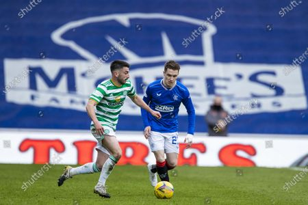 Scott Wright of Rangers and Greg Taylor of Celtic during the Scottish Premiership match at Ibrox Stadium, Glasgow.