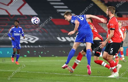 Leicester's Jonny Evans scores his side's opening goal during the English Premier League soccer match between Southampton and Leicester City at St. Mary's Stadium in Southampton, England