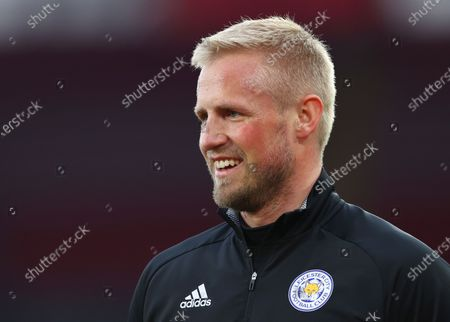 Leicester's goalkeeper Kasper Schmeichel smiles prior to the English Premier League soccer match between Southampton and Leicester City at St. Mary's Stadium in Southampton, England