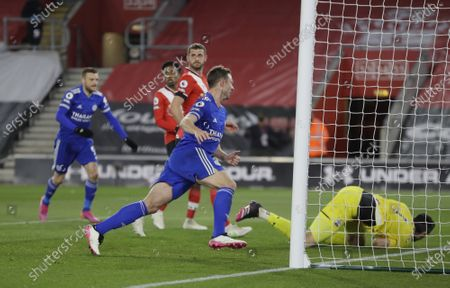 Jonny Evans of Leicester celebrates scoring his team's opening goal during the English Premier League soccer match between Southampton FC and Leicester City in Southampton, Britain, 30 April 2021.