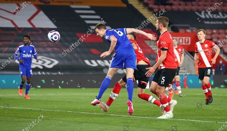 Jonny Evans of Leicester scores his team's opening goal during the English Premier League soccer match between Southampton FC and Leicester City in Southampton, Britain, 30 April 2021.