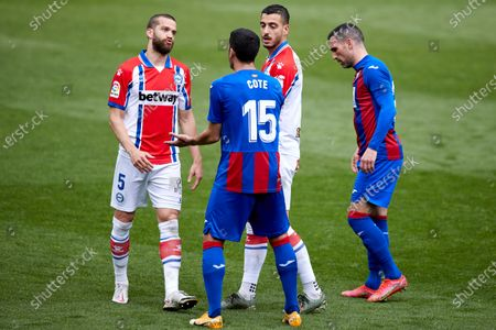 Victor Laguardia of Deportivo Alaves and Jose Angel Valdes, Cote reacts during the La Liga match between SD Eibar and Deportivo Alaves at Ipurua stadium on May 1, 2021 in Eibar, Spain.