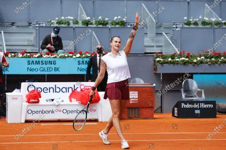 "Aryna Sabalenka (BLR) - Tennis : Aryna Sabalenka of Belarus during Singles 1st round match against Vera Zvonareva of Russia on the WTA 1000 ""Mutua Madrid Open tennis tournament"" at the Caja Magica in Madrid, Spain."