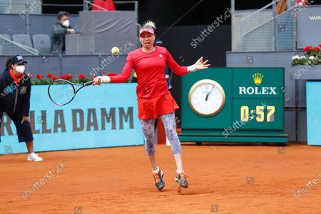 "Vera Zvonareva (RUS) - Tennis : Vera Zvonareva of Russia during Singles 1st round match against  Aryna Sabalenka of Belarus on the WTA 1000 ""Mutua Madrid Open tennis tournament"" at the Caja Magica in Madrid, Spain."