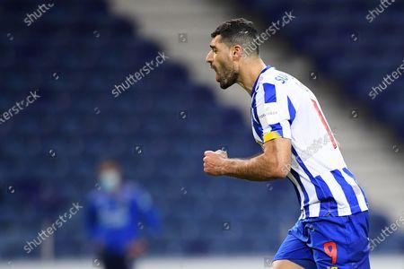 Mehdi Taremi of FC Porto celebrates his penalty kick goal in the 61st minute for 2-1