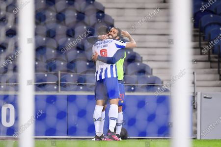 Mehdi Taremi of FC Porto celebrates his penalty goal with Sergio Oliveira in the 61th minute 2-1