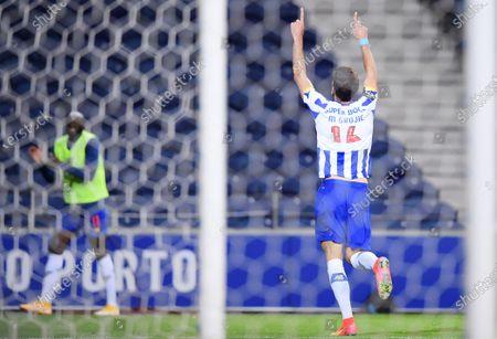 Marko Grujic of FC Porto celebrates his penalty kick goal in the 75th minute for 3-1