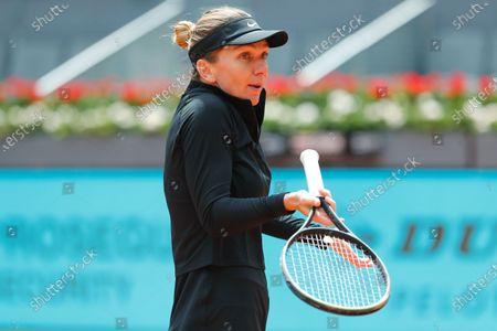 "Simona Halep (ROU) - Tennis : Simona Halep of Romania during Singles 1st round match against Sara Sorribes Tormo of Spain on the WTA 1000 ""Mutua Madrid Open tennis tournament"" at the Caja Magica in Madrid, Spain."