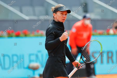 """Simona Halep (ROU) - Tennis : Simona Halep of Romania celebrate after point during Singles 1st round match against Sara Sorribes Tormo of Spain on the WTA 1000 """"Mutua Madrid Open tennis tournament"""" at the Caja Magica in Madrid, Spain."""
