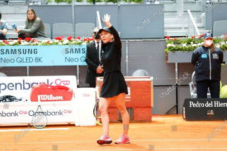 "Simona Halep (ROU) - Tennis : Simona Halep of Romania celebrate after winning Singles 1st round match against Sara Sorribes Tormo of Spain on the WTA 1000 ""Mutua Madrid Open tennis tournament"" at the Caja Magica in Madrid, Spain."