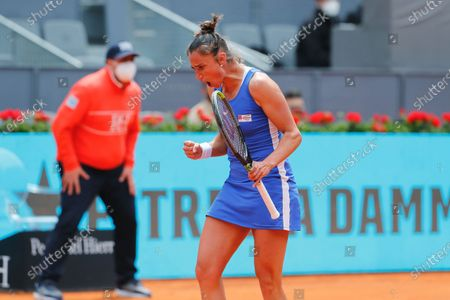 """Sara Sorribes Tormo (ESP) - Tennis : Sara Sorribes Tormo of Spain celebrate after point during Singles 1st round match against Simona Halep of Romania on the WTA 1000 """"Mutua Madrid Open tennis tournament"""" at the Caja Magica in Madrid, Spain."""