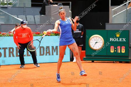 "Sara Sorribes Tormo (ESP) - Tennis : Sara Sorribes Tormo of Spain during Singles 1st round match against Simona Halep of Romania on the WTA 1000 ""Mutua Madrid Open tennis tournament"" at the Caja Magica in Madrid, Spain."