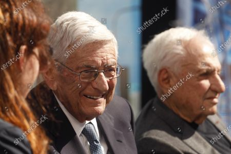 Stock Picture of LOS ANGELES, CA - FEBRUARY 11, 2019 - - Philanthropist Eli Broad, left, enjoys a light moment along with architect Frank Gehry during an interview at a ground breaking ceremony for The Grand in downtown Los Angeles on February 11, 2019. Construction on the $1 billion Grand Avenue Project is set to begin. The complex of condominiums, apartments, shops, restaurants and a hotel has been delayed several times since 2004, when Related Companies was selected by city and county officials to transform land. (Genaro Molina/Los Angeles Times)