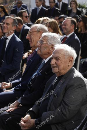 LOS ANGELES, CA - FEBRUARY 11, 2019 - - Architect Frank Gehry, right, sits next to philanthropist Eli Broad during a ground breaking ceremony for The Grand in downtown Los Angeles on February 11, 2019. Construction on the $1 billion Grand Avenue Project is set to begin. The complex of condominiums, apartments, shops, restaurants and a hotel has been delayed several times since 2004, when Related Companies was selected by city and county officials to transform land. (Genaro Molina/Los Angeles Times)