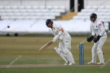 Durham's Will Young batting  during the LV= County Championship match between Durham County Cricket Club and Warwickshire County Cricket Club at Emirates Riverside, Chester le Street on  Friday 30th April 2021.