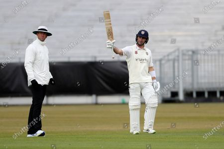 Will Young of Durham celebrates after scoring a century during the LV= County Championship match between Durham County Cricket Club and Warwickshire County Cricket Club at Emirates Riverside, Chester le Street on  Friday 30th April 2021.