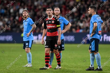 Graham Dorrans of Western Sydney Wanderers and Rhyan Grant of Sydney watch a replay of the penalty decision; Bankwest Stadium, Parramatta, New South Wales, Australia; A League Football, Western Sydney Wanderers versus Sydney FC.