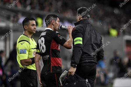 Stock Picture of Graham Dorrans of Western Sydney Wanderers grabs a drink after receiving treatment on the sidelines; Bankwest Stadium, Parramatta, New South Wales, Australia; A League Football, Western Sydney Wanderers versus Sydney FC.