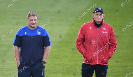 Stuart Hooper Director of Rugby and Neil Hatley Head Coach for Bath; Recreation Ground, Bath, Somerset, England; European Challenge Cup Rugby, Bath versus Montpellier.