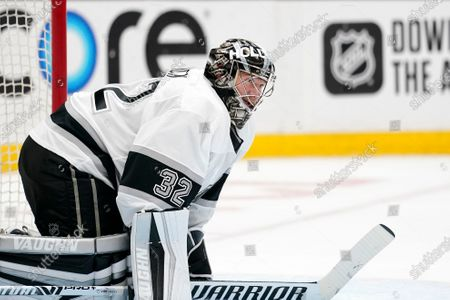 Los Angeles Kings goaltender Jonathan Quick rests during the second period of an NHL hockey game against the Anaheim Ducks, in Anaheim, Calif