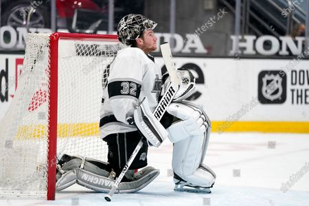 Stock Photo of Los Angeles Kings goaltender Jonathan Quick rests during the second period of an NHL hockey game against the Anaheim Ducks, in Anaheim, Calif