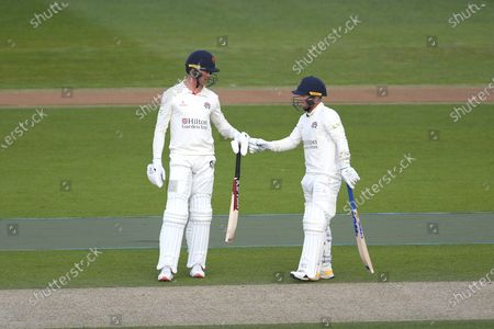Keaton Jennings and Alex Davies of Lancashire during their partnership of 102 during the LV= Insurance County Championship match between Sussex County Cricket Club and Lancashire County Cricket Club at the 1st Central County Ground, Hove