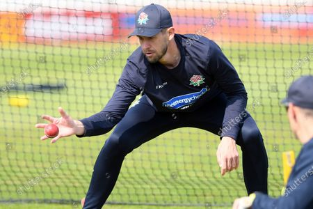 Tom Bailey of Lancashire takes catching practice during the LV= Insurance County Championship match between Sussex County Cricket Club and Lancashire County Cricket Club at the 1st Central County Ground, Hove