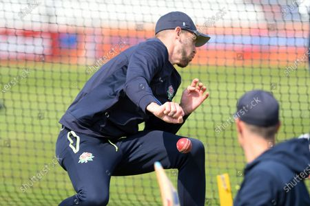 Stock Photo of Tom Bailey of Lancashire takes catching practice during the LV= Insurance County Championship match between Sussex County Cricket Club and Lancashire County Cricket Club at the 1st Central County Ground, Hove