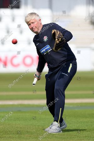 Stock Photo of Lancashire Head Coach Glen Chapple hits catches before the LV= Insurance County Championship match between Sussex County Cricket Club and Lancashire County Cricket Club at the 1st Central County Ground, Hove