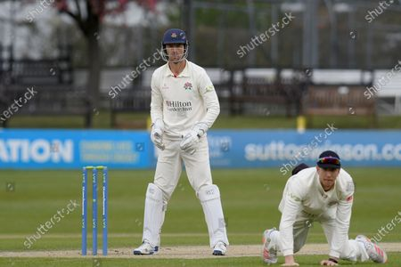 Dane Villas and Keaton Jennings of Lancashire during the LV= Insurance County Championship match between Sussex County Cricket Club and Lancashire County Cricket Club at the 1st Central County Ground, Hove