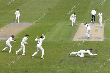 Lancashire wicketkeeper Dane Vilas dives to stop a delivery from Tom Bailey during the LV= Insurance County Championship match between Sussex County Cricket Club and Lancashire County Cricket Club at the 1st Central County Ground, Hove