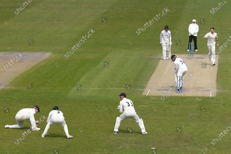 Wicket. 37 - 3. Stiaan van Zyl of Sussex edges Tom Bailey to Liam Livingstone during the LV= Insurance County Championship match between Sussex County Cricket Club and Lancashire County Cricket Club at the 1st Central County Ground, Hove