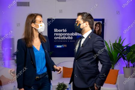 Foreign Affairs Minister Sophie Wilmes and MR chairman Georges-Louis Bouchez pictured during the online event of MR, French-speaking liberals in Brussels, on the first of May, Labour Day, the International Workers' Day, Saturday 01 May 2021.