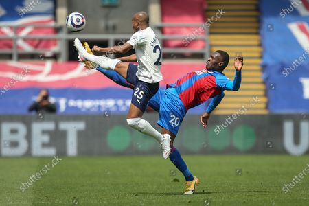 Christian Benteke (R) of Crystal Palace in action against Fernandinho (L) of Manchester City during the English Premier League soccer match between Crystal Palace and Manchester City in London, Britain, 01 May 2021.