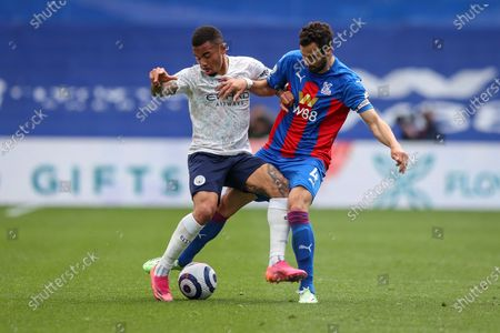 Luka Milivojevic (R) of Crystal Palace in action against Gabriel Jesus (L) of Manchester City during the English Premier League soccer match between Crystal Palace and Manchester City in London, Britain, 01 May 2021.