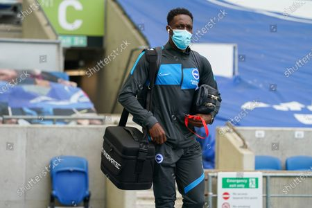 Brighton and Hove Albion forward Danny Welbeck (18) arrives at the ground at the Premier League match between Brighton and Hove Albion and Leeds United at the American Express Community Stadium, Brighton and Hove