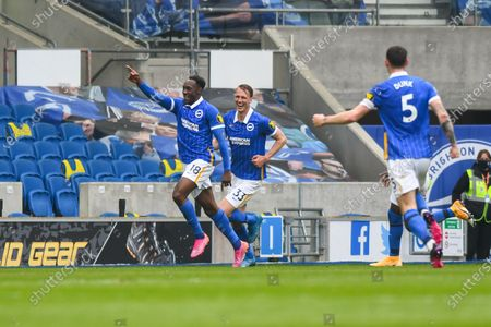 GOAL 2-0. Brighton and Hove Albion forward Danny Welbeck (18) scores a goal and celebrates to make the score 2-0 at the Premier League match between Brighton and Hove Albion and Leeds United at the American Express Community Stadium, Brighton and Hove