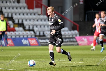 Crawley Town midfielder Josh Wright (44) sprints forward with the ball during the EFL Sky Bet League 2 match between Stevenage and Crawley Town at the Lamex Stadium, Stevenage